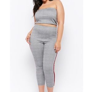 Plaid tube top and pants set